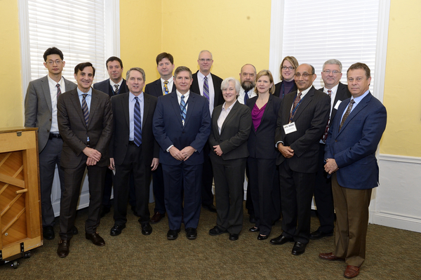 Members of the Research Management Board pose for a photo with JHU President Ron Daniels, WSE Dean Ed Schlesinger, and other members of the JHU community. (Photo: Will Kirk, Homewood Photography)