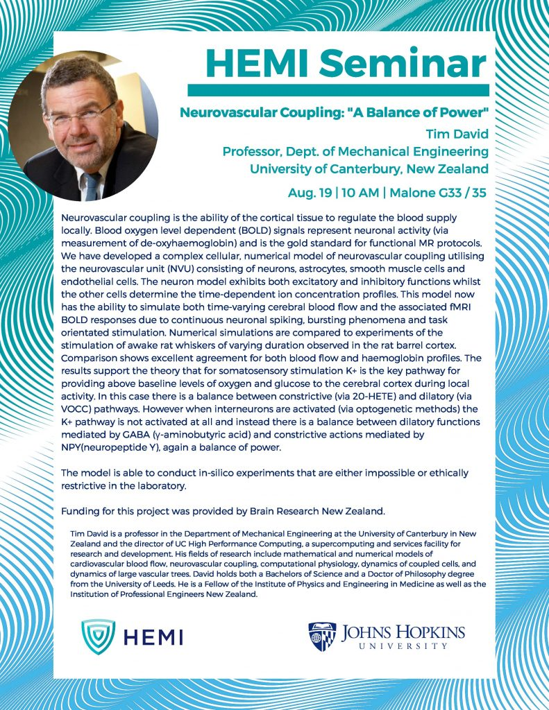 HEMI Seminar: Tim David (Univ  of Canterbury, New Zealand) -